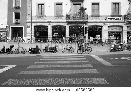 GENEVA, SWITZERLAND - SEPTEMBER 11, 2014: Geneva downtown. Geneva is the second most populous city in Switzerland and is the most populous city of Romandy, the French-speaking part of Switzerland