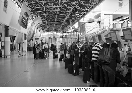 HELSINKI, FINLAND - SEPTEMBER 03, 2014: self check-in kiosks in Helsinki Airport. Helsinki Airport  is the main international airport of the Helsinki metropolitan region and the whole of Finland