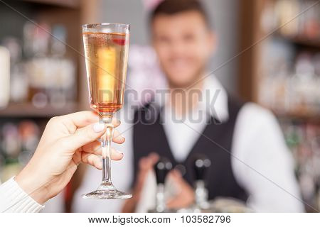 Professional male bartender is serving customer in pub