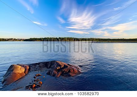 View Of The Village Of Pongoma Summer Evening. Karelia, Russia