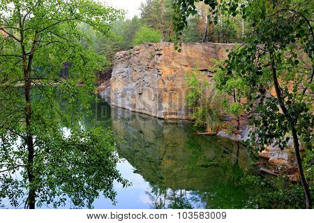 View on rock over lake water