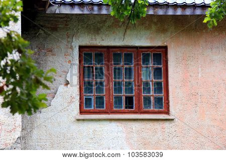 abandoned house close-up and old window