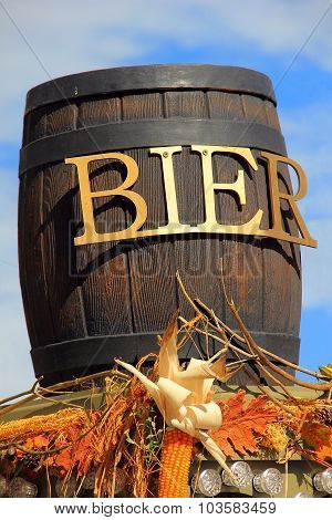 Wooden barrel of beer at Oktoberfest in Germany