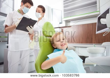 Cute male child is visiting dental doctor