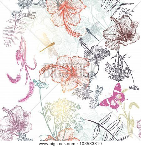 Floral Seamless Vector Background With Engraved Flowers Hibiscus, Dragonfly