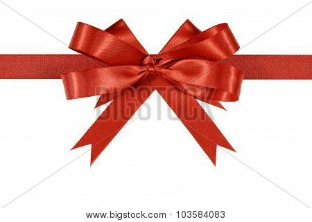 Red Satin Ribbon Bow Or Rosette Straight Horizontal Isolated On White Background