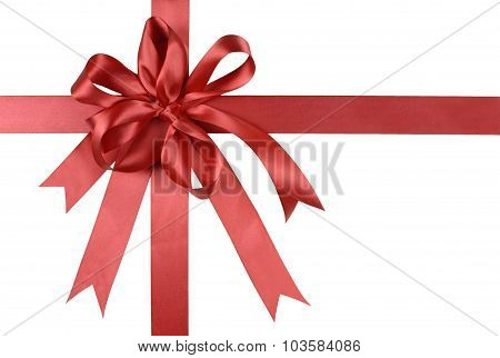 Red Gift Ribbon Bow Or Rosette Isolated On White Background