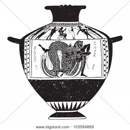 Fighting Hercules and Nereus, vintage engraved illustration.