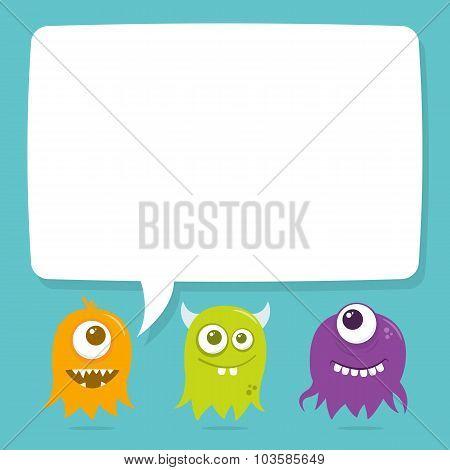 Cute Happy Flying Aliens, Blank Speech Bubble