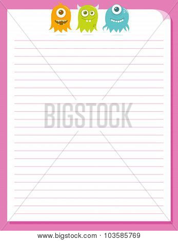 Cute Happy Flying Aliens, Stationery Template