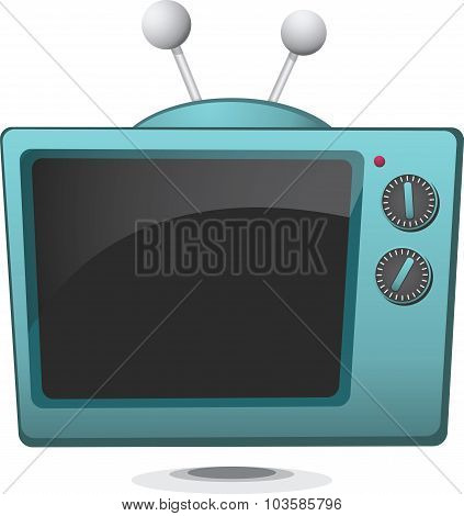 Simple Cartoon Retro Television Set
