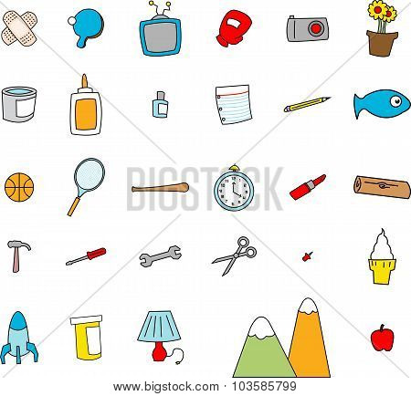 Childlike Doodles Of Everyday Objects