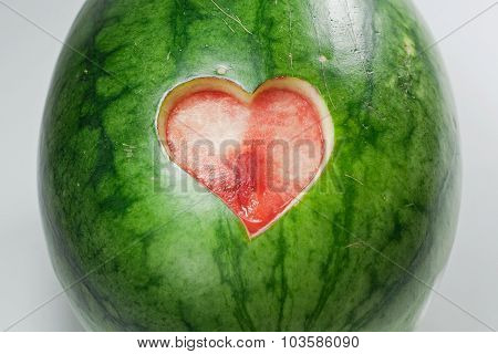 Water Melon with Heart Cut