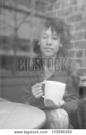 Close up shot of beauty woman in cafe