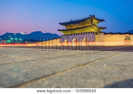 Gyeongbokgung Palace At Night In Seoul, South Korea