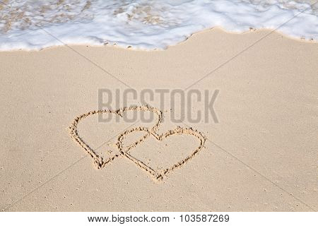 Two Hearts Drawn On The Beach Sand