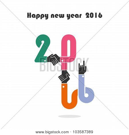 Happy New Year 2016.colorful Greeting Card Design.vector Illustration For Holiday Design.