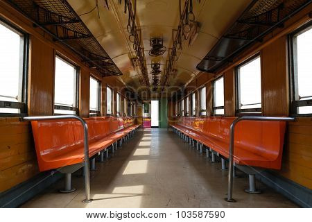 Cabin Of Thai Train, Isolated Window And Door White Background
