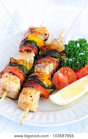 Vegetable and chicken skewers kebabs, a perfect healthy summer barbeque meal