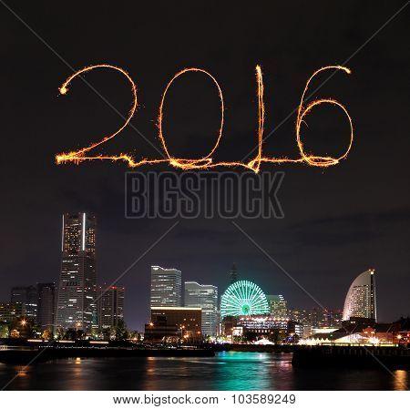 2016 New Year Fireworks Celebrating Over Marina Bay