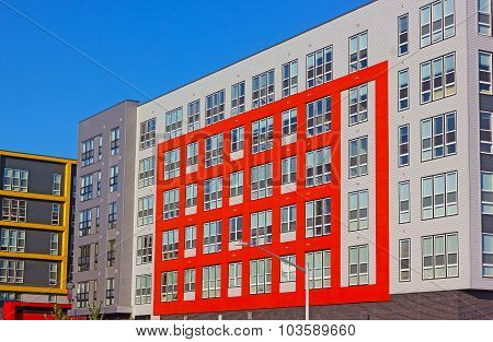 Geometry of colorful modern residential buildings.
