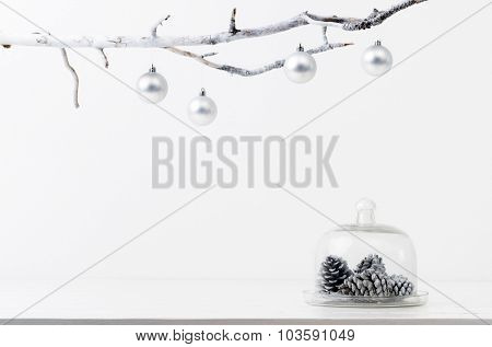 Christmas decoration pine cones in silver frosty icy tone, simple minimalist elegant design