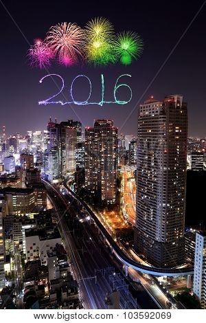 2016 New Year Fireworks Celebrating Over Tokyo Cityscape At Night