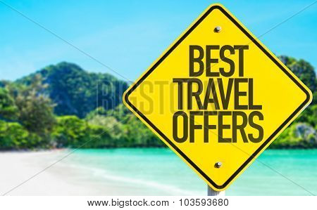 Best Travel Offers sign with beach background