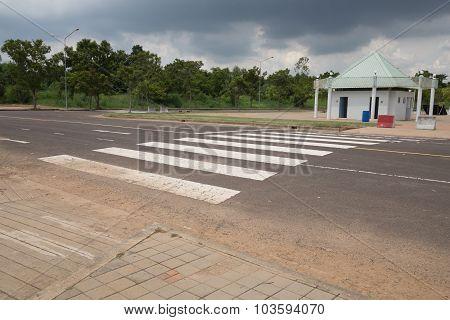 zebra traffic walk way on the road