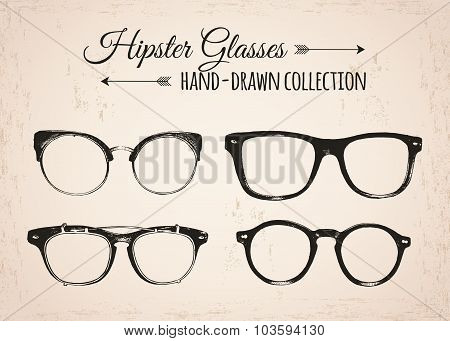Hipster fashion vintage elements hand-drawn collection. Hipster eyeglasses.