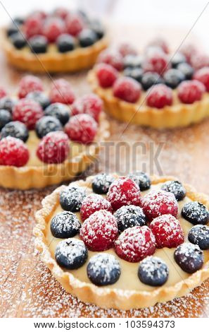 Multiple mix berry tarts dessert dusted with icing sugar