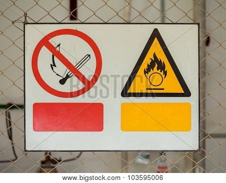 No Fire Sign And Fire Warning Signs