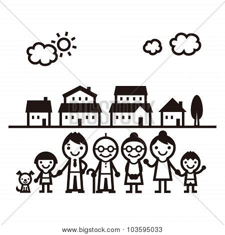 Family Standing In Fromt Of Houses