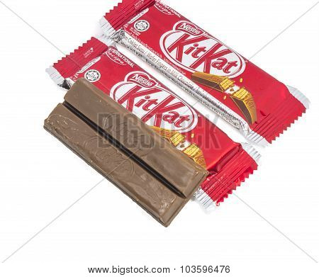 KUALA LUMPUR MALAYSIA AUGUST 2ND2015 : Kit Kat is a chocolate covered wafer bar created in 1911 by Rowntree's of York England. Nestle which acquired Rowntree in 1988 now sells Kit Kat globally.