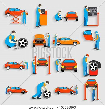 Set of auto mechanic car service repair and maintenance work icons . Man reparing car. Flat style de