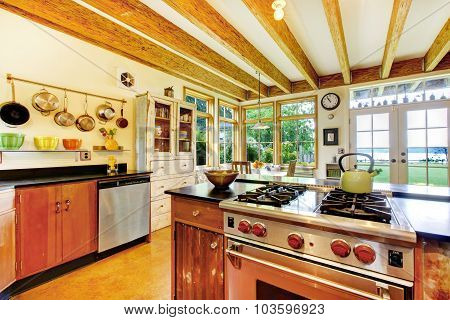 Vintage Style Kitchen With Creative Interior.