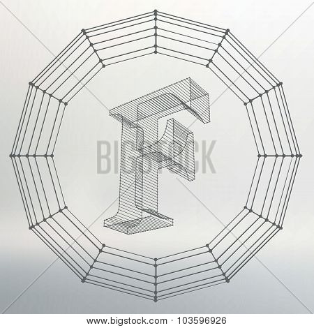 Vector illustration of letter . Fonts of Mesh polygonal. Wire frame contour alphabets. Abstract crea