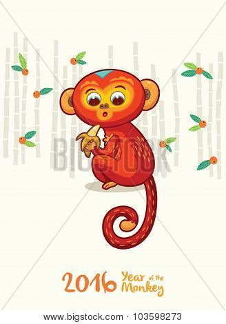 New Year card with Red Monkey for year 2016