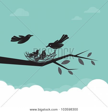 Family Of Birds That Are Feeding The Baby, Illustration.
