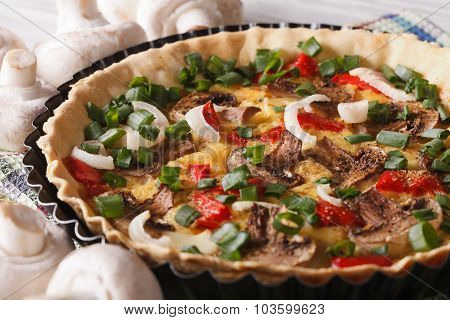 French Vegetable Tart With Mushrooms Close-up. Horizontal