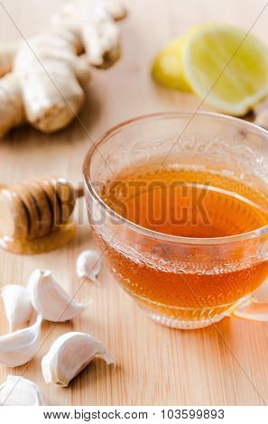 Ginger tea with lemon, honey, garlic for a healthy soothing detox drink