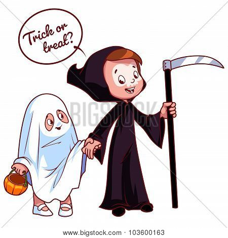 Two Girls Dressed For Halloween As A Ghost  And Death