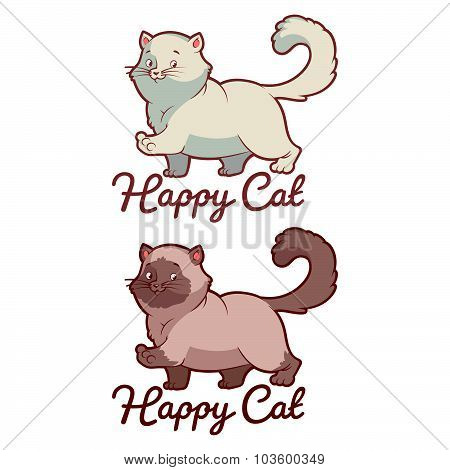 Logo Template For Pet Shop With Happy Cat.