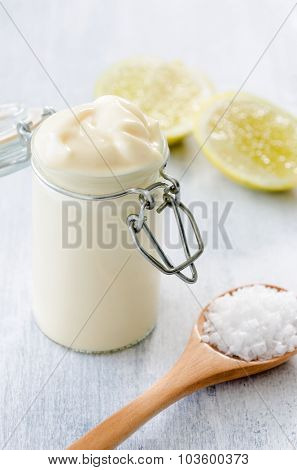 Jar of fresh homemade mayo as a condiment dressing for salads and sandwiches