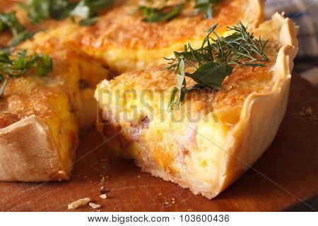 Piece Of Quiche Lorraine Macro. Horizontal