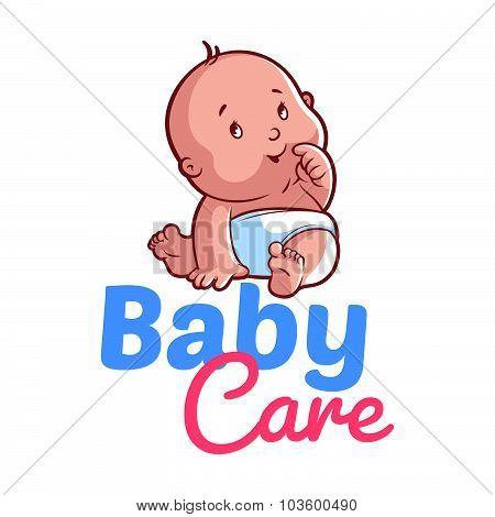 Cute Toddler In Diaper. Baby Care Logo