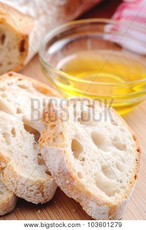 Common Italian appetiser; sliced baguette served with olive oil