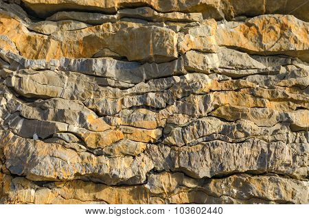 The Layered Structure Of A Stone Cliff In Montenegro
