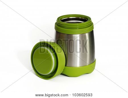 Green thermos travel tumbler