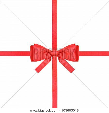 Red Satin Bow Knot And Ribbons On White - Set 16